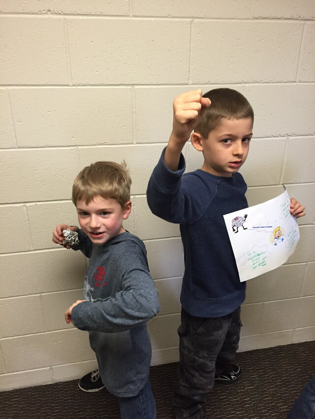 "Students from Park showing off their superhero poses. This is one way they can defeat ""rock brain"" who tries to get our brains stuck on a problem."